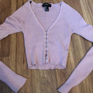 Pink long sleeve latch front crop top